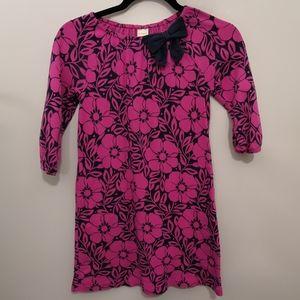 Gymboree Navy/Magenta Floral Dress W/Pockets & Bow